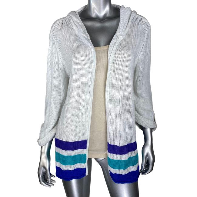 Item - White L Stripped Hooded Cardigan Size 12 (L)