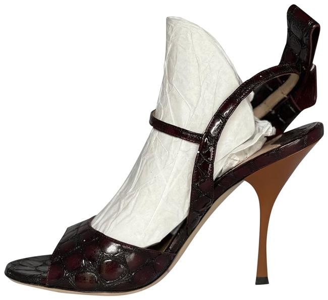 Item - Burgundy Croc Embossed Bow Ankle Strap Sandals Size EU 39.5 (Approx. US 9.5) Regular (M, B)