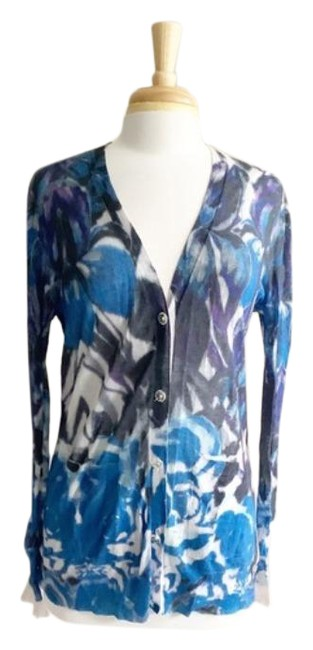 Item - Blue White Cashmere Blend Floral Sweater Cardigan Size 4 (S)