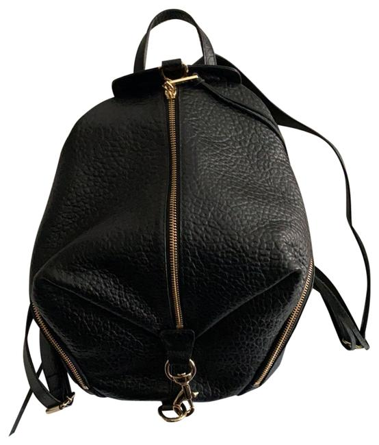 Item - Black with Gold Trim Leather Backpack