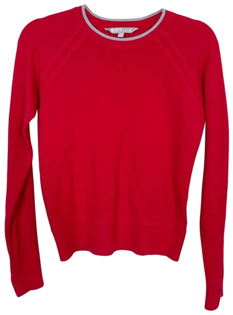 Item - XS Cotton Tipped Crew Neck Xsmall Gray Red Sweater