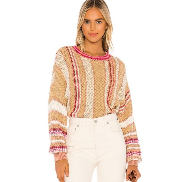 Item - Show Me Love Striped Pink and Tan Sweater