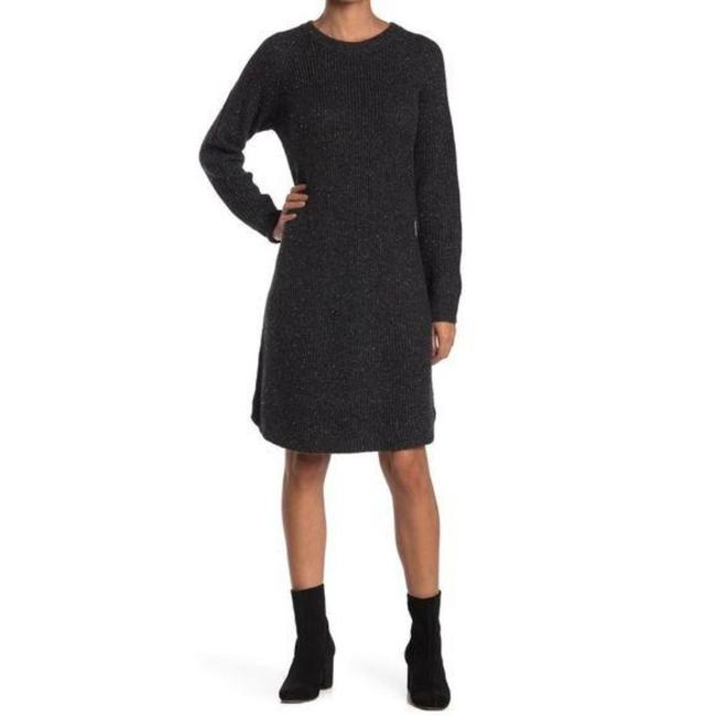 Item - Gray Black New Curved Hem Sweater Mid-length Short Casual Dress Size 4 (S)
