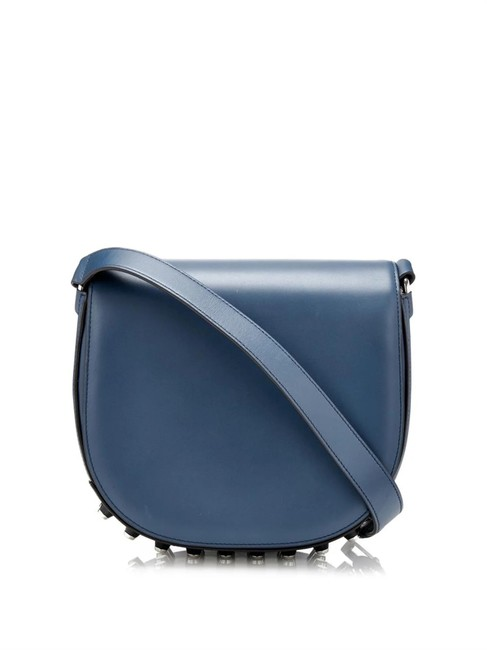 Item - Studded Lia In Smooth Leather Blue Cross Body Bag