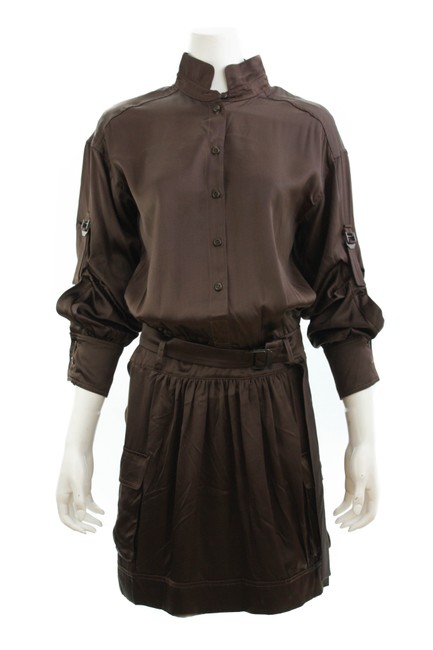 Item - Brown Button Down Long Sleeved Cargo Mid-length Short Casual Dress Size 8 (M)