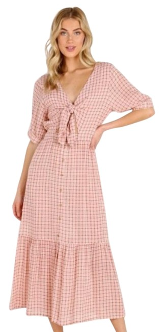 Item - Pink/Cream Maple Check Tie Front Midi Mid-length Casual Maxi Dress Size 8 (M)