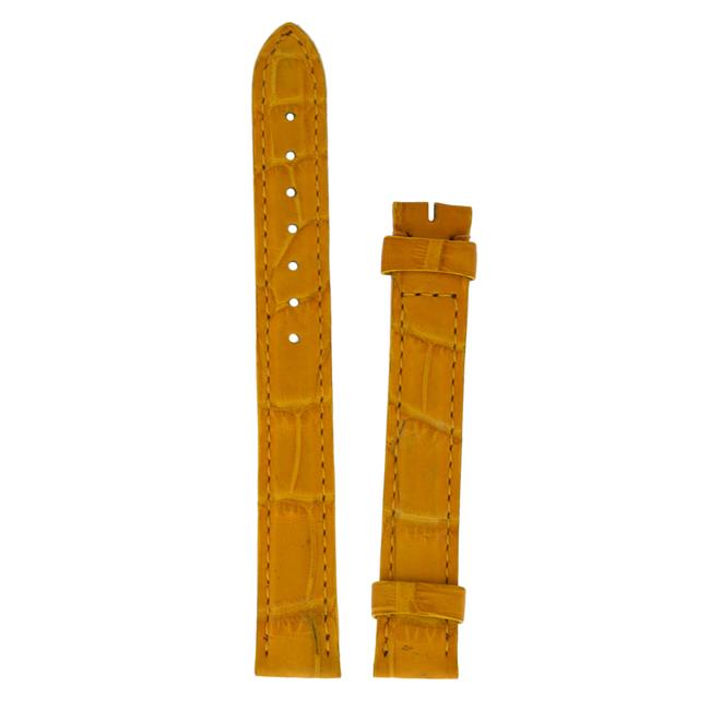 Item - Yellow 13mm X 12mm Alligator Leather Tang Strap Watch