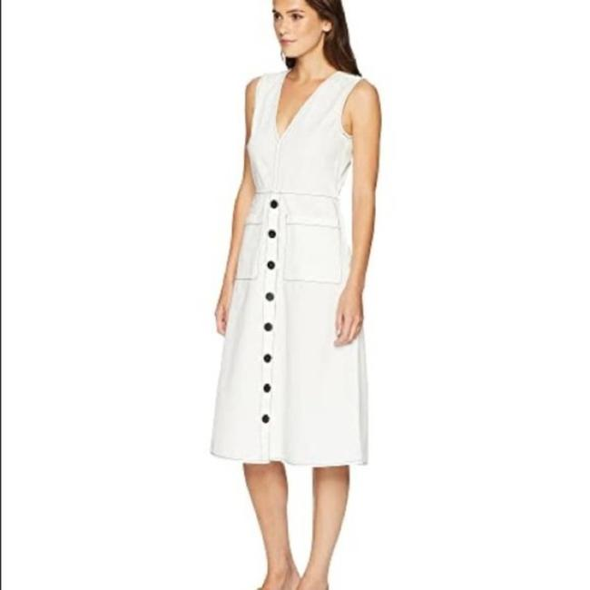Item - White Black Sleeveless V-neck Nadinaly Button-down Mid-length Work/Office Dress Size 0 (XS)
