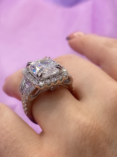 Item - White Gold Adorable 14k with 5.03ct. Cushion Shape Engagement Ring