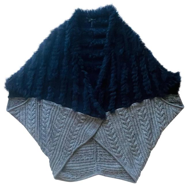 Item - Blue and Grey Open Front Cardigan Poncho/Cape Size 4 (S)