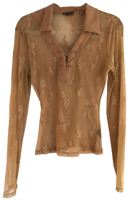 Item - Brown Lace Beige Shirt Sheer Blouse Size 4 (S)