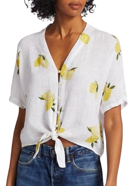 Item - White Yellow Thea Fresh Lemon Print Linen Tie-hem Crop Blouse Size 00 (XXS)