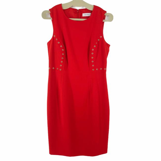 Item - Red Grommet Sheath Mid-length Work/Office Dress Size 10 (M)