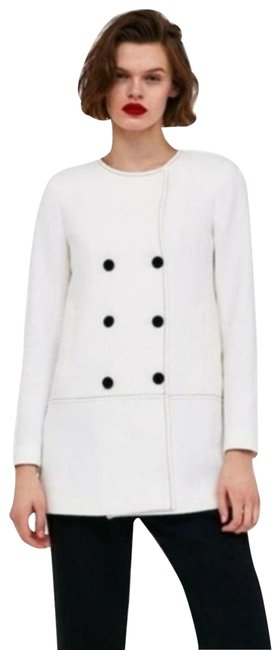 Item - Off White Coat with Contrasting Topstitching Blazer Size 8 (M)