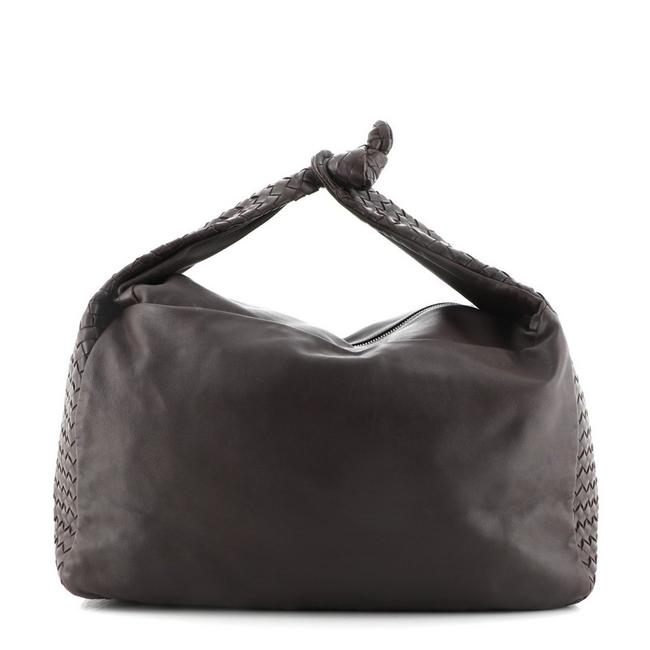 Item - Knot with Intrecciato Detail Large Brown Leather Hobo Bag