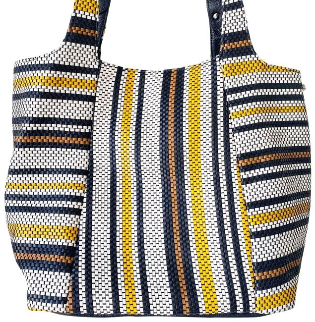 Item - Tote Simone Woven Leather Striped Black Cowhide-leather Shoulder Bag