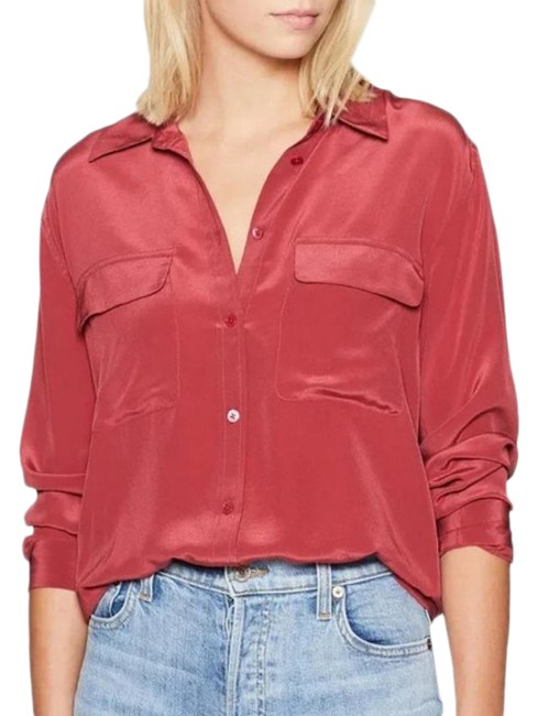 Item - Red Signature Silk Shirt Button-down Top Size 2 (XS)
