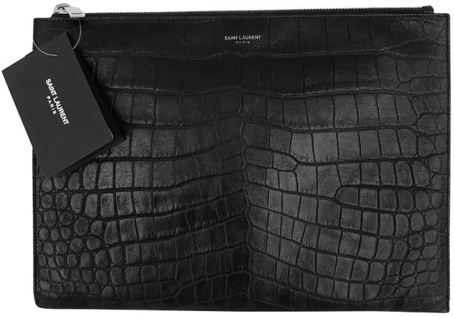 Saint Laurent Crocodile Embossed Zip Black Leather Clutch Saint Laurent Crocodile Embossed Zip Black Leather Clutch Image 1