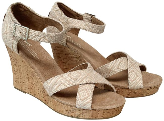 "Item - Natural Woven ""Strappy Diamond Wedges Size US 9.5 Regular (M, B)"
