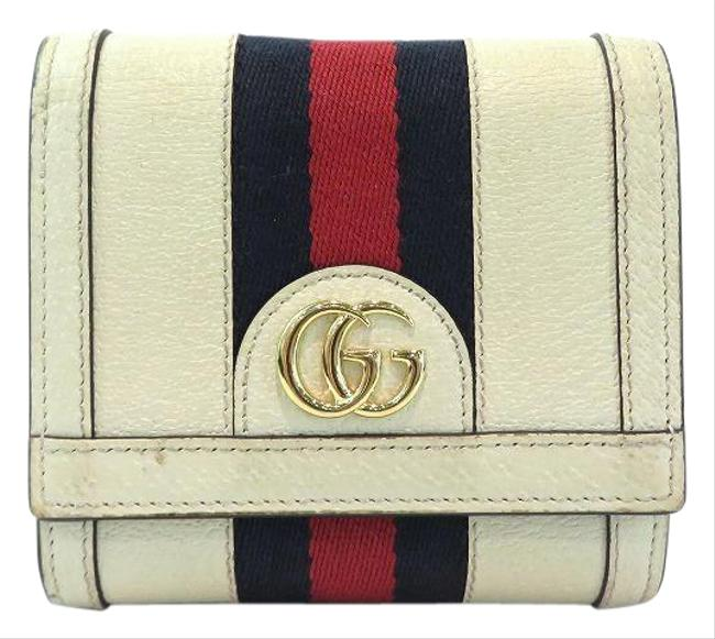 Item - Navy / Red Color / White Offidia Gg Card Case 598662 Ribbon Bi-fold Unisex Wallet