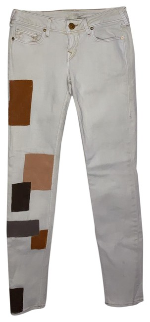 Item - Beige and Brown Straight Leg Jeans Size 6 (S, 28)