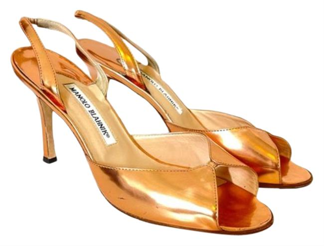 Item - Gold Peep Toe Pumps Size EU 38.5 (Approx. US 8.5) Regular (M, B)