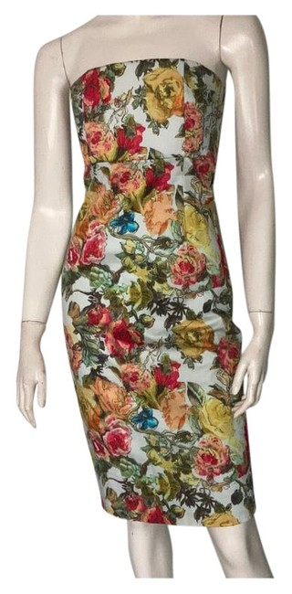 Item - Blue Garden Floral Strapless Mid-length Night Out Dress Size 2 (XS)