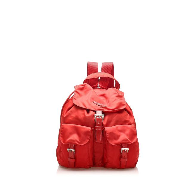 Item - Drawstring Tessuto Red Leather Backpack