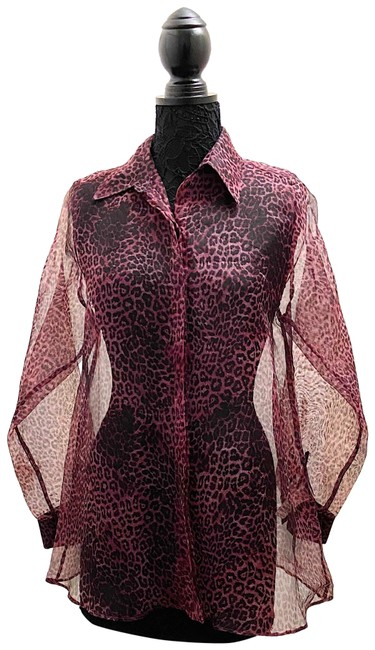 Item - Brown and Purple See Through Leopard Shirt Button-down Top Size 4 (S)