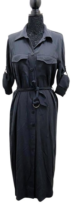 Item - Black/Grey Belted Shirt Mid-length Casual Maxi Dress Size 4 (S)