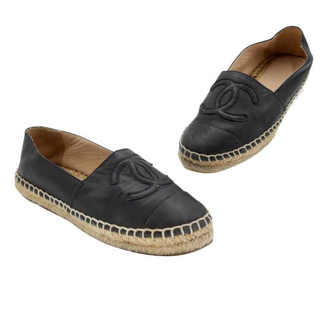 Item - Black Matte Leather Cc Espadrille Double Stacked 38 Flats Size US 7 Regular (M, B)