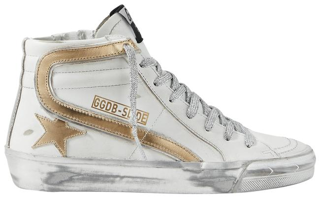 Item - White Slide Metallic Distressed Leather High-top Sneakers Size EU 39 (Approx. US 9) Regular (M, B)