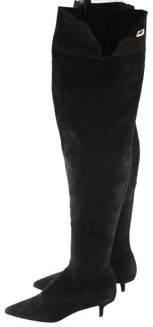 Item - Black Suede Pointed Toe Over The Knee Boots/Booties Size US 7 Regular (M, B)