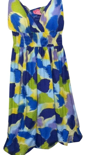 Item - Yellow Green Blue Purple Summer Lace Lace Trim Above Knee Short Casual Dress Size 4 (S)