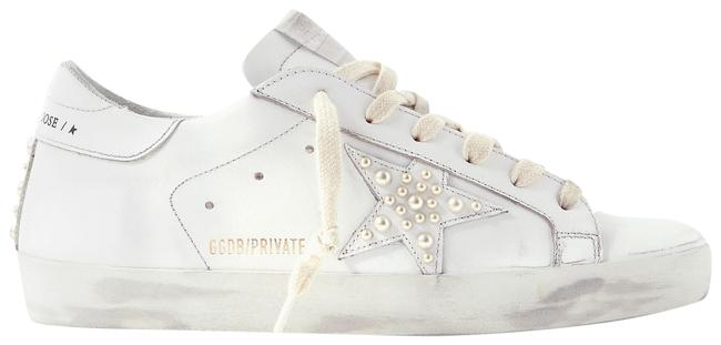 Item - White Superstar Faux Pearl-embellished Distressed Leather Sneakers Size EU 42 (Approx. US 12) Regular (M, B)
