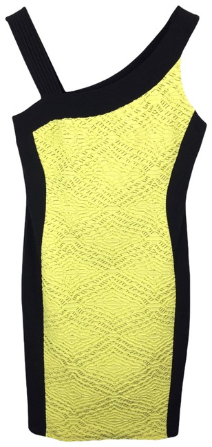 Item - Green Black Asymmetric Strappy Bodycon Neon Textured Evening Mid-length Work/Office Dress Size 8 (M)