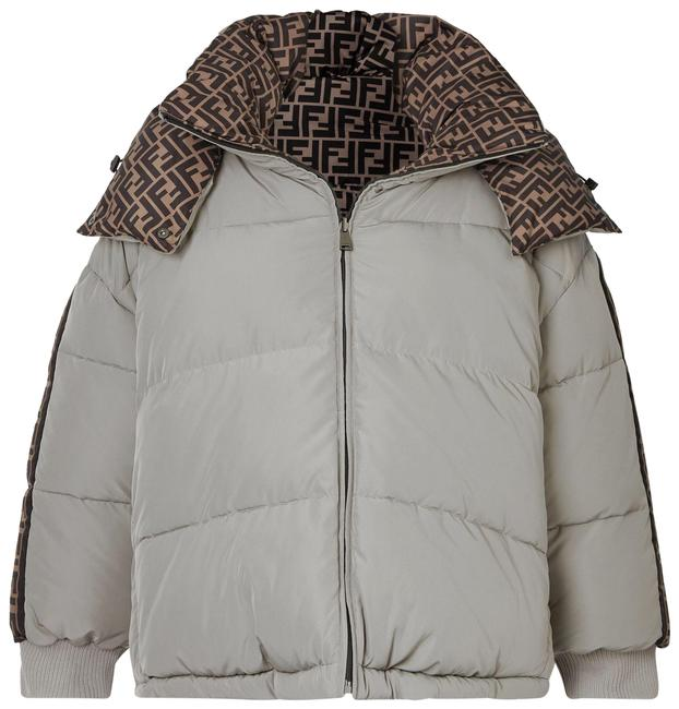 Item - Light Gray Reversible Hooded Printed Quilted Shell Down Jacket Coat Size 8 (M)