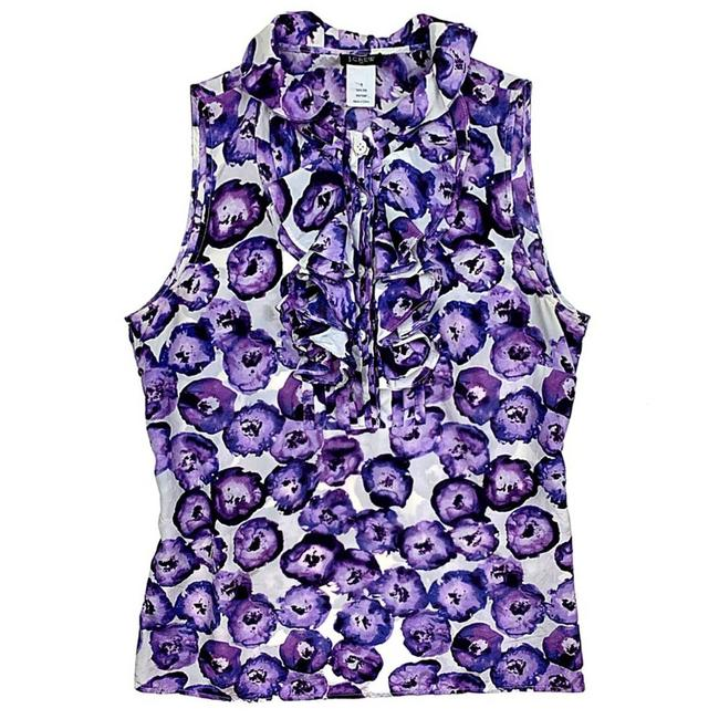 Item - Purple Floral Pleated Ruffle Silk Frances Tank Top/Cami Size 4 (S)