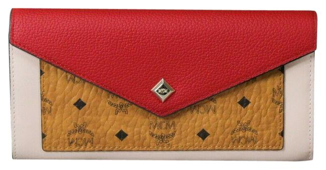 Item - Cognac & Red Crossbody Large Two Fold Flap Leather Colorblock Chain Wallet