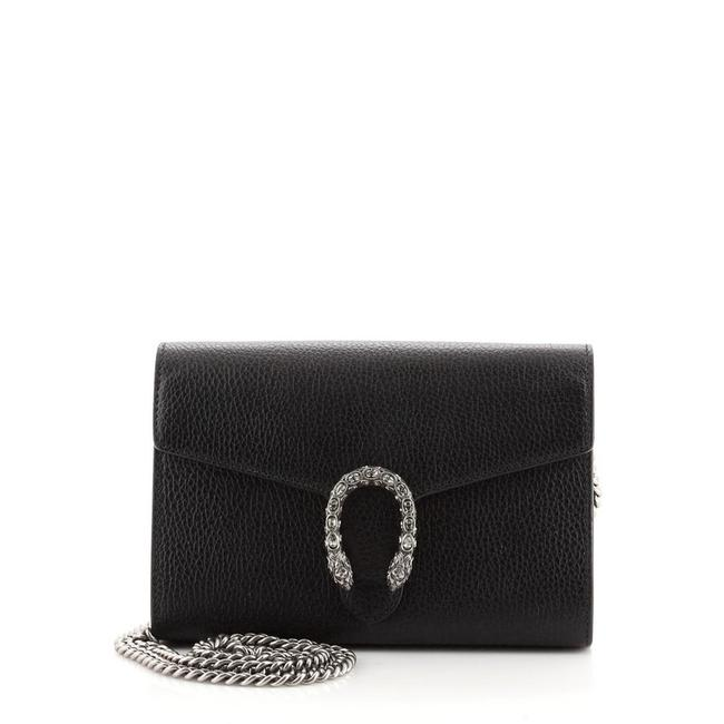 Item - Chain Wallet Dionysus With Embellished Detail Small Black Leather Cross Body Bag