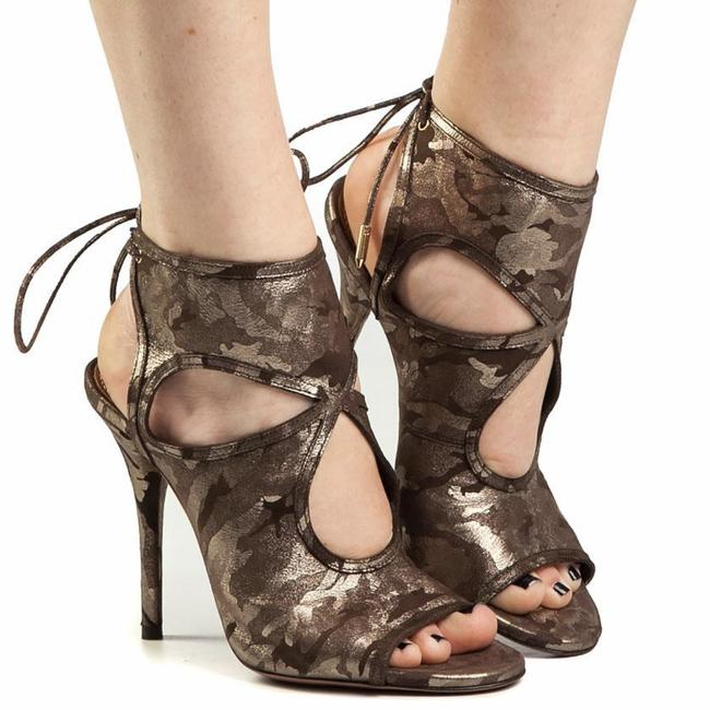 Item - Green Gray Sexy Thing 105 Metallic Camouflage Suede Cutout Sandals Size EU 35 (Approx. US 5) Regular (M, B)