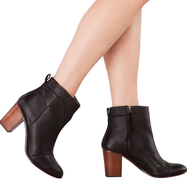 Item - Black Leather Lunta Ankle Chunky Heel Boots/Booties Size US 7 Regular (M, B)