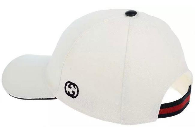 Item - White with Blue Red Web L New Interlocking Gg Detail Canvas Cotton Baseball Cap 59/L Hat