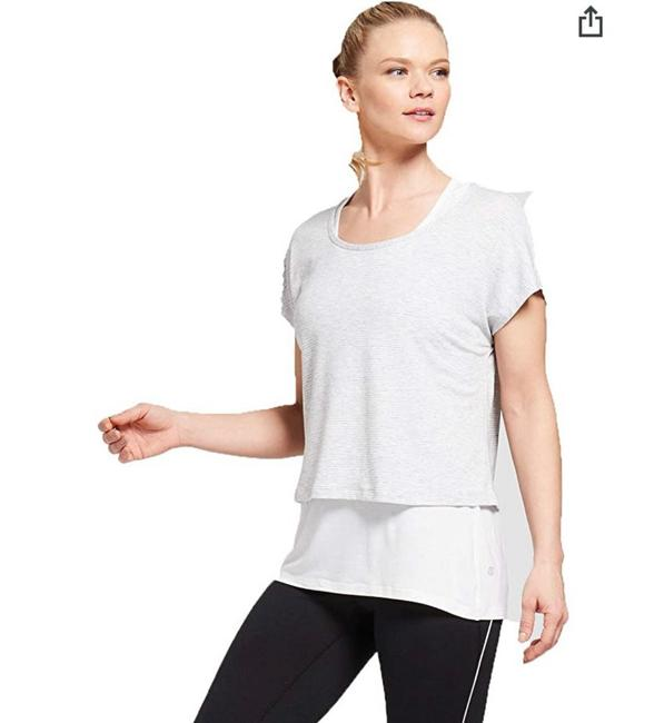 Item - Gray White 2 In One T-shirt Blouse Size 20 (Plus 1x)