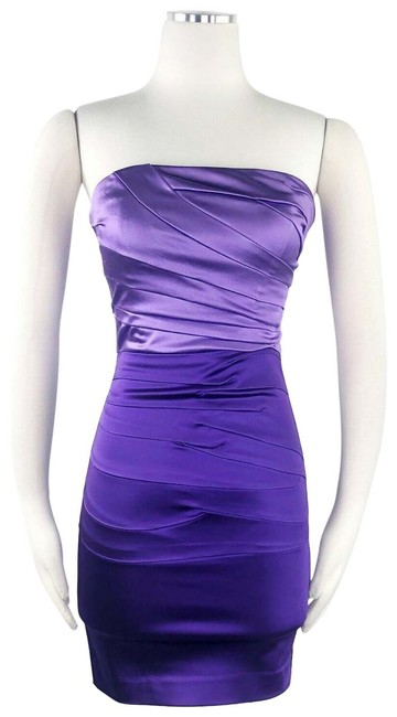 Item - Purple Ombre XS Strapless Bodycon Mini Ruched Silky Corset Style Short Night Out Dress Size 0 (XS)