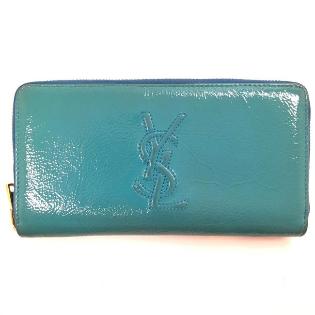 Item - Turquoise W Womens Pattent Leather Continental Ysl Logo Wallet