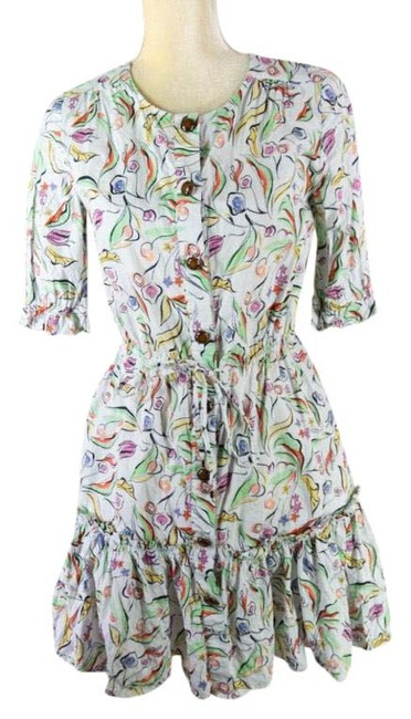 Item - White Multi Colored Floral Mini Ruffle Short Casual Dress Size 4 (S)