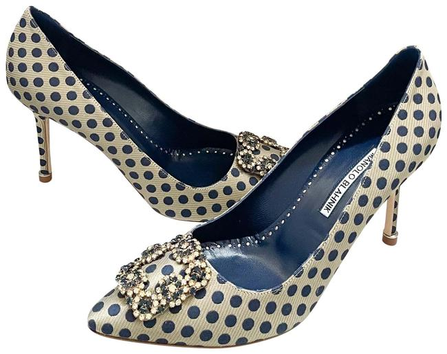 Item - New Hangisi Jacquard Blue Gold Jewel Buckle Pumps Size US 8.5 Regular (M, B)