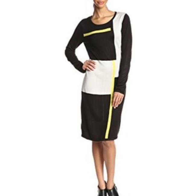 Item - Black Yellow Sweater Mid-length Short Casual Dress Size 4 (S)
