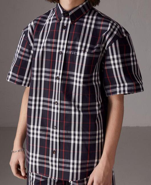 Item - Blue XL X Gosha Rubchinskiy Navy Cotton Check Logo Boxy Oversized Shirt